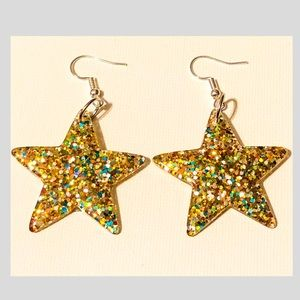 Acrylic Glitter Star Earrings